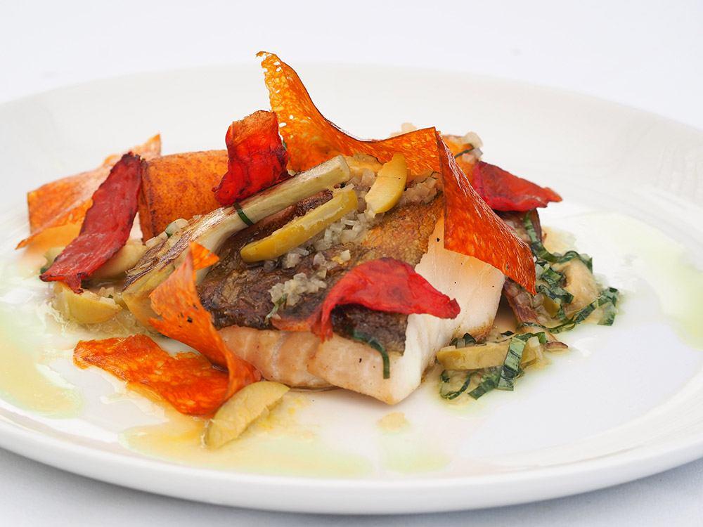 bar-fillet-of-cod-parmesan-polenta-artichoke-chorizo-sauce-vierg